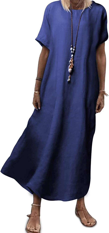 Women Summer Linen Dress Maxi Long Italian Style Casual Loose Fitting Dress Short Sleeve