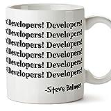 Tazas de desayuno original para regalar a programadores - Developers! Developers! Steve Ballmer - Cerámica 350 ml