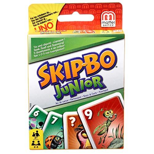 Mattel Games T1882 Skip-Bo Junior Kartenspiel für Kinder, geeignet für 2 - 4 Spieler, Spieldauer ca. 30 Minuten, ab 5 Jahren
