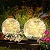 Garden Solar Lights Pathway Outdoor Cracked Glass Ball Waterproof Warm White LED for Walkway Patio Yard Lawn (3.94)