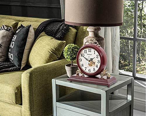 SHJMANPA Reloj de mesa retro de madera de cerezo con movimiento de cuarzo para chimenea, mesa de oficina, estante de escritorio, decoración del hogar, regalo único y novedoso