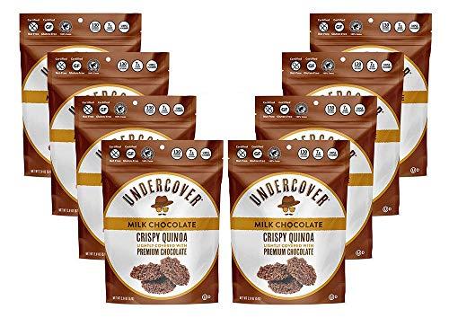 UNDERCOVER CHOCOLATE CRISPY QUINOA CRUNCH | MILK CHOCOLATE | Gluten Free Crispy Quinoa chocolate snacks | Kosher, Allergen Friendly, Nut Free, Plant Based | 8 Pack of 2oz Bags