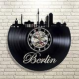 Menddy Schwarz Durchbrochene Deutsche Stadtbild Rekorduhr Berliner Skyline Schallplatte Uhr Kreative Handgefertigte Kunst Uhr Ohne Led-Licht 12 Zoll