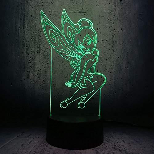 Tinkerbell Mädchen Illusion-Nachtlicht 3D, Dinosaurier-Nachthimmel, 7 Farben USB-Lade, die Schlafzimmerfür Kinder Weihnachten Halloween beleuchten