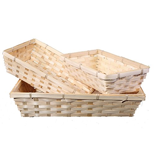 BASIC HOUSE 10 x Bamboo Natural Color Wicker Bread Basket Storage Hamper Display Tray (Small)