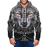 Black Wolf Dreamcatcher - Sudadera con capucha para hombre con cremallera completa y bolsillos para uso diario