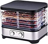 TXOZ-Q Máquina de deshidratador de alimentos premium, acero inoxidable con 5 bandejas grandes Temporizador digital y control de temperatura for bocadillos saludables, carne de res, bruscas, frutas, go