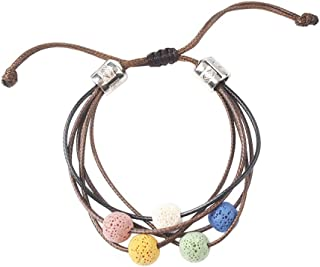 Essential Oil Bracelets, Lava Rock Stone Beads, Leather Braided Rope, Bracelets For Aromatherapy, Yoga, Meditation, Healing, Diffuser Bracelets For Men & Women, 1 Pcs