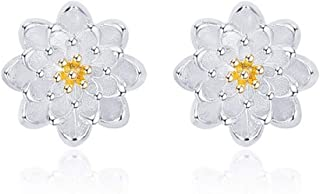 Sterling Silver Lotus Blossom Flower Stud Earrings Dainty 3D Flower Earring Stud For Women Girls Indian Mandala Henna Flow...