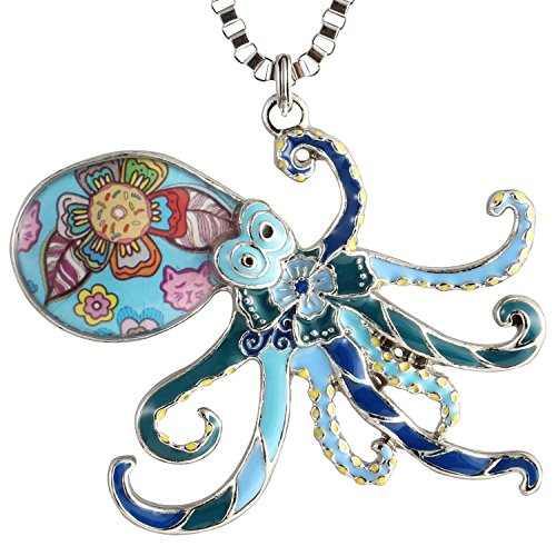 Luckeyui Large Octopus Pendants Necklace for Women Girls Birthday Gift Blue Enamel Sea Life Charm Jewelry