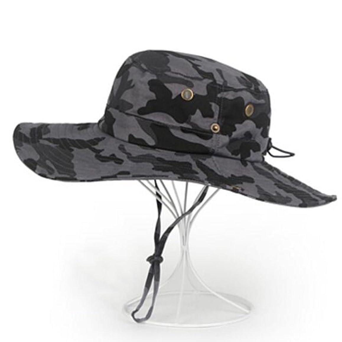 アラブサラボ包括的第二HTDZDX カモフラージュサンプロテクションハット、夏の屋外レジャー折りたたみ可能なサンプロテクションハットの男性は、大きな帽子、風のロープを折り畳むことができます (色 : B)