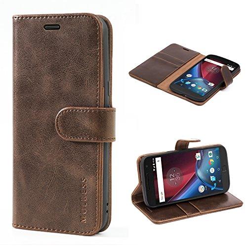 Mulbess Handyhülle für Moto G4 Hülle, Moto G4 Plus Hülle, Leder Flip Case Schutzhülle für Motorola Moto G4 / G4 Plus Tasche, Vintage Braun