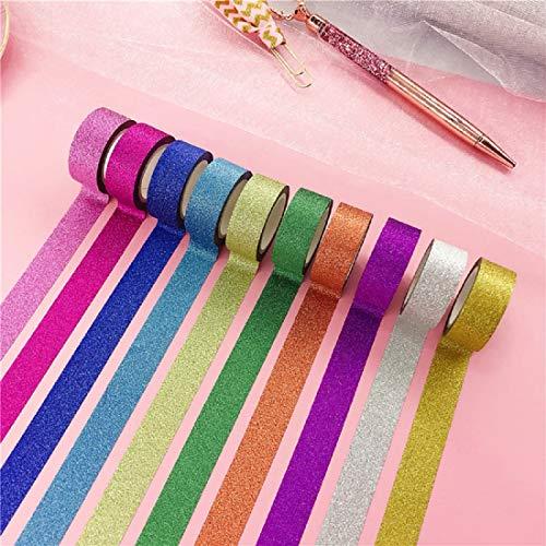 Farbiges Klebeband Set, 10 Rollen Bunte Glitzernde Bänder für Scrapbooking, Basteln und Schulmaterial 15mm x 5m