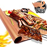 Hirundo Non-Stick Grill Mats- Cooking Baking Reusable Sheet Barbecue Baking Grill Mesh (2PACKS, Gold)