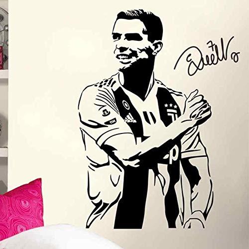 Fútbol Deportes Juven-tus FC Jugador estrella de fútbol Cristiano Ronaldo CR7 Firma Etiqueta de la pared Vinilo Calcomanía para autos Niños Fans Dormitorio Sala de estar Club Decoración para el h