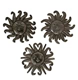 Small Metal Sun Faces, Sunny Home Décor, Wall Hanging, Authentic Upcycled Artwork from Haiti 6 Inches Round (Sun Faces)