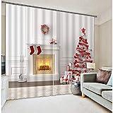 AmDxD 2 paneles de poliéster cortina para ventana, cortinas para dormitorio, árbol de Navidad y chimenea, lavable a máquina, blanco rojo, 84 W x 84 H pulgadas