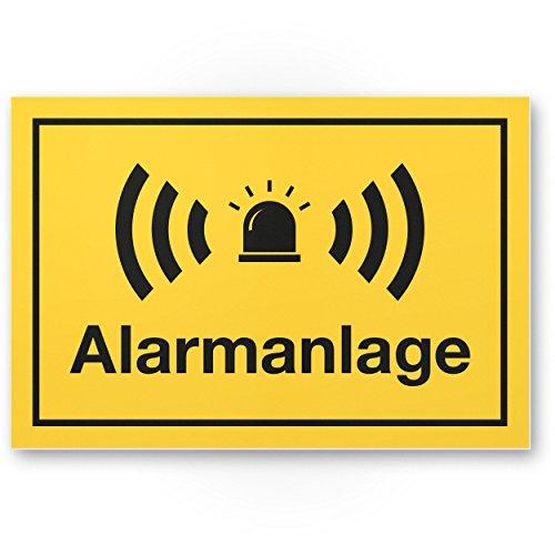 Alarmanlage Kunststoff Schild (gelb 30 x 20 cm) - Achtung/Vorsicht Alarmgesichert - Hinweis/Hinweisschild Alarm - Haus/Gebäude/Objekt