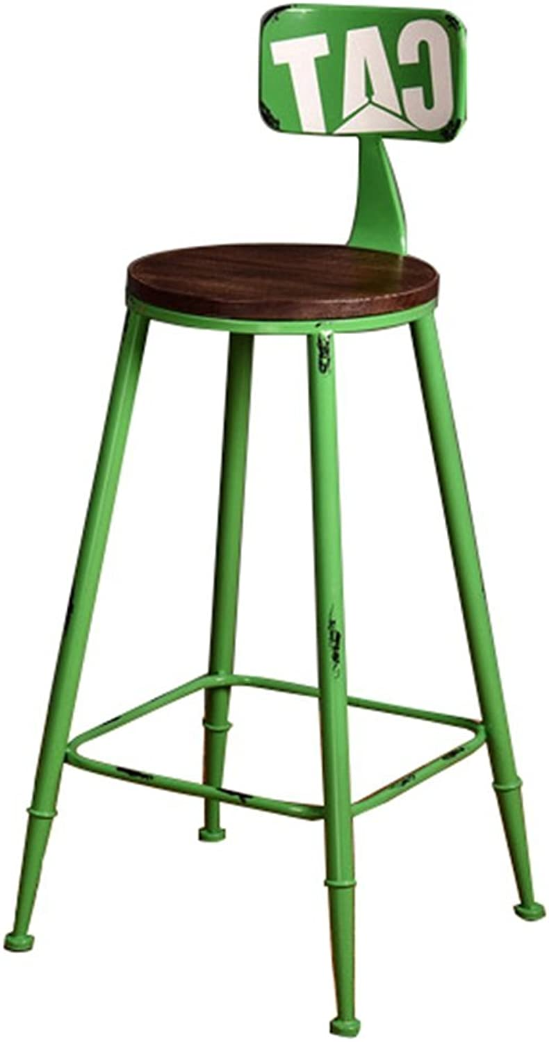 High Stool Bar Kitchens Dining Chair Breakfast Stool   Barstool with Backrest High Chair Leisure Seat Vintage Bar Stool Retro Industrial Design (color   Green, Size   65CM)