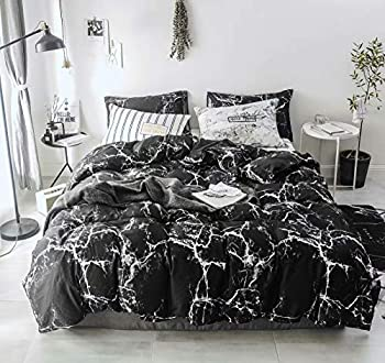 Wellboo Black Marble Duvet Cover Black and White Bedding Cotton Twin Crack Artwork Adults Women Men Quilt Covers Modern Ceramic Marble Duvet Covers Luxury Gothic Chic Covers Soft Durable 3 PCS