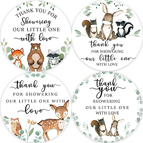80 Woodland Baby Shower Thank You Stickers, Forest Creature Baby Shower Thank You Stickers, Woodland Baby Shower Birthday Party Favor Label Decorations(2 Inch)
