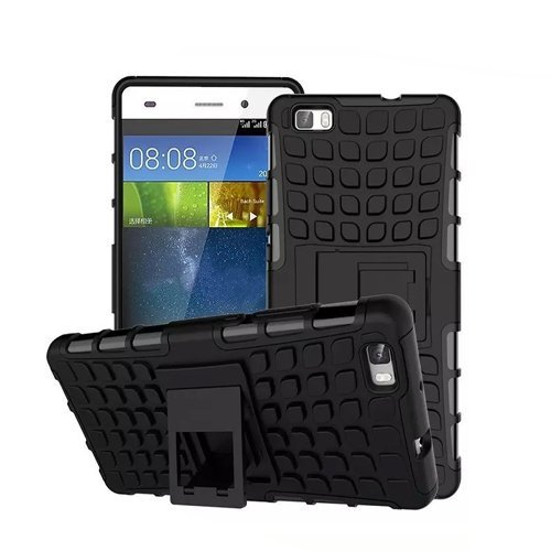 Huawei P8 Lite / Dual-SIM Outdoor Handy Tasche Schwarz Hybrid Hülle Schutz Hülle Panzer TPU Silikon Hard Cover Bumper   betterfon