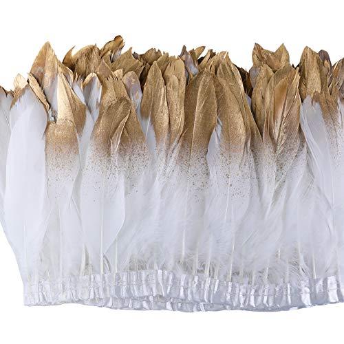 WELROG Plume d'oie de canard Frange de garniture 2 verges pour l'artisanat bricolage couture décoration de Artisanat naturel Art Accessoires de plumes natives douces(Blanc n ° 2)