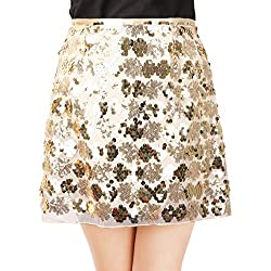 Yellow Sequins Cocktail Mini Skirt