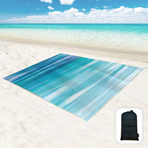 Hiwoss Sand Proof Beach Blanket Oversized 95'x 80',Waterproof Sand Free Beach Mat with Corner...