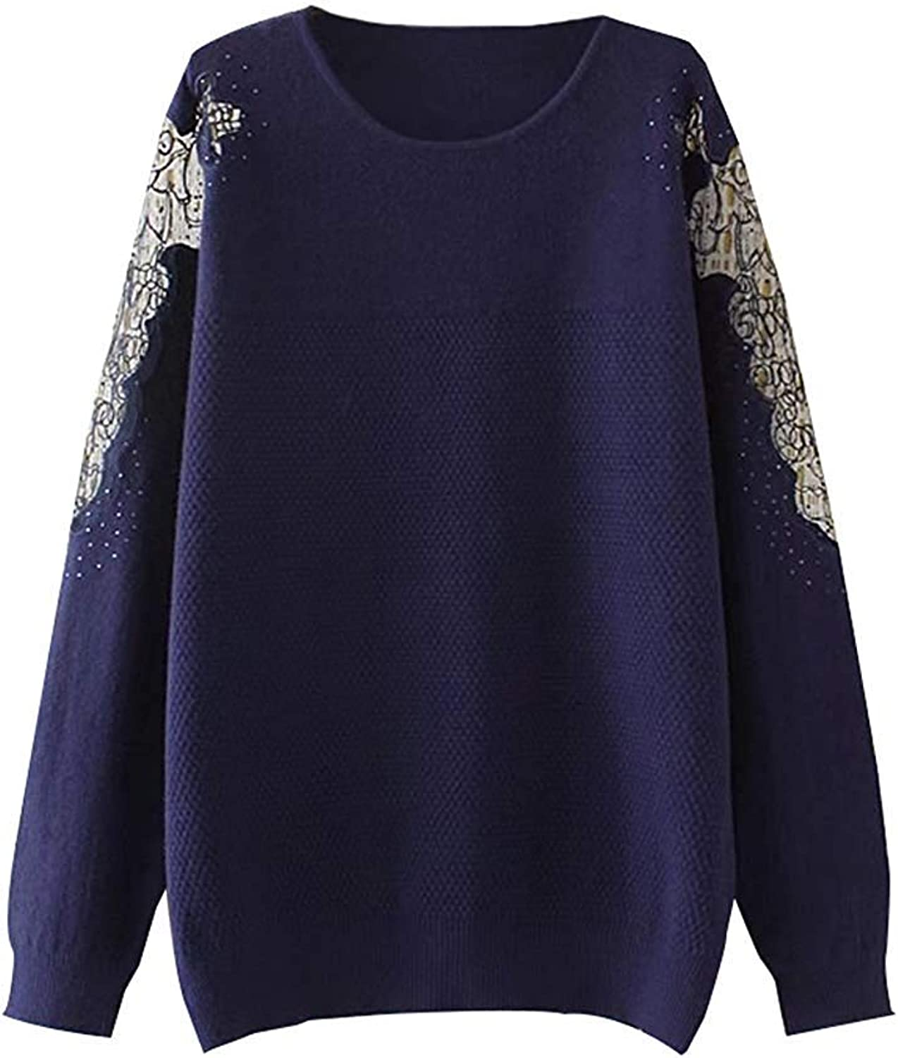 Oudan Women's Cotton Knitted Long Sleeve Jumper Sweatshirt Casual Knitwear Tops (color   Navy, Size   Large)