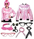 Women 1950s Plus Size Women Pink Jacket Hen Party Costume with Scarf (XL, Rhinestone Pink)