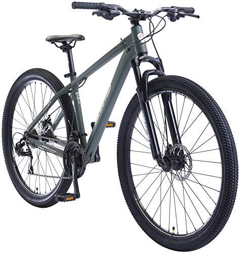 BIKESTAR Hardtail Mountain Bike in Alluminio, Freni a Disco, 29' | Bicicletta MTB Telaio 17' Cambio Shimano a 21 velocità, sospensioni | Verde Beige
