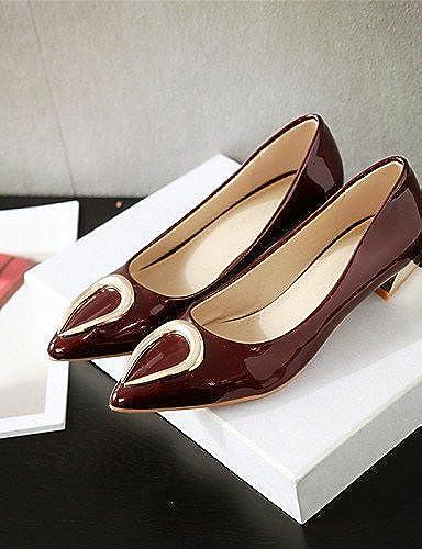 DFGBDFG PDX femme Chaussures en similicuir Talon Plat Bout Bout Bout Pointu apparteHommests Bureau & carrière robe décontracté Bleu rouge gris c55