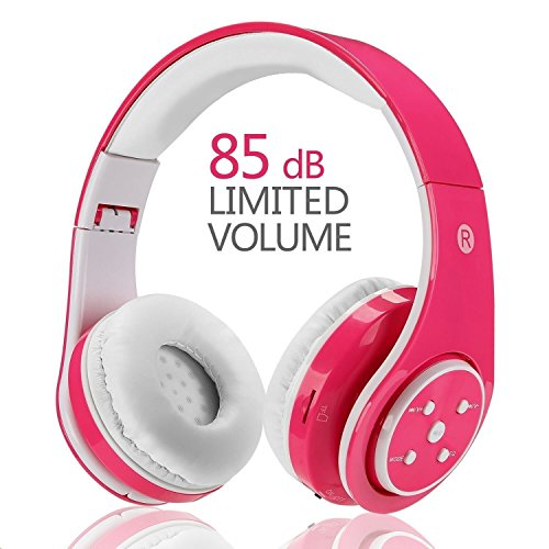 Wireless Bluetooth Kids Headphones,VOTONES Girl Wired Headset Lightweight Foldable Adjustable Over Ear Earphone with Microphone Line in TF Card for Study Compatible with Smartphone PC Tablet (Pink)