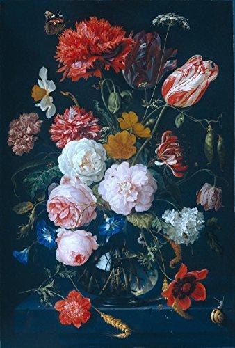 Het Museum Outlet - Stilleven met bloemen in een glazen vaas - 1683 - Canvas Print Online (24 x 18 Inch)