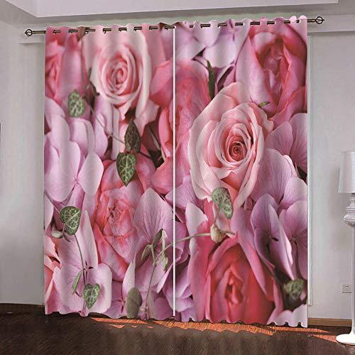 Cortinas Opacas- Rosa Rosada-Aislamiento térmico Reducción de Ruido Cortinas, 3D Impresión Digital Cortinas 183x214cm con Ojales Dormitorio habitación Infantil Decoración 2 Uds