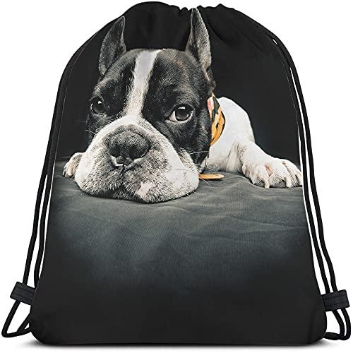 Beabes French Bulldog Drawstring Bags Backpack Bag Animal Cute Dog Black And White Pet Frenchie Puppy Funny Doggy Sport Gym Sack Drawstring Bag String Bag Yoga Bag for Men Women Boys Girls