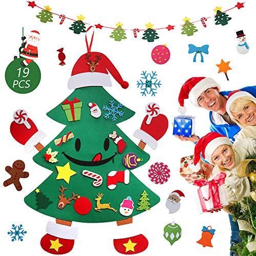 Feltro Albero Natale,DIY Albero di Natale con 19PCS Ornamenti Staccabili, Regali di Natale per Bambini, Decorazioni per Albero di Natale da Appendere A Parete+ 1PCS Banner di Natale