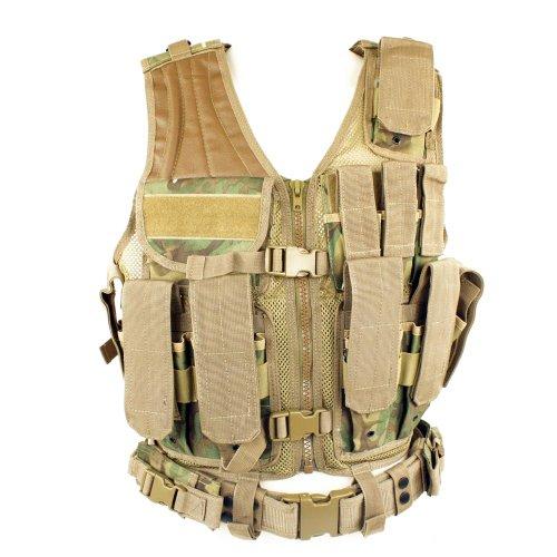 Miltec Taktische Jacke ARID-Woodland 8 Taschen Holster + Gürtel Erwachsene Unisex Camo, Einheitsgröße