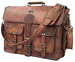 small DHK 18inch Vintage Leather Shoulder Bag Handmade Laptop Briefcase Computer Shoulder Bag Men's Women's Bag
