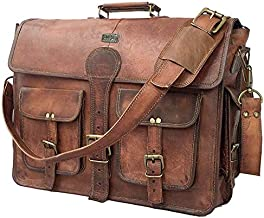 DHK 18 Inch Vintage Handmade Leather Travel Messenger Office Crossbody Bag Laptop Briefcase Computer College Satchel Bag For Men And Women (DARK BROWN)