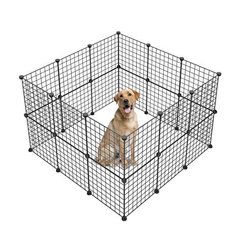 JYYG 小動物モルモット 用 ペットベビーサークルモルモットケージ小動物用ケージ犬ベビーサークル室内 金属ワイヤウサギ ケージ庭 フェンス ウサギはクレートフェンステント黒犬小屋 24枚バックパネル 24枚