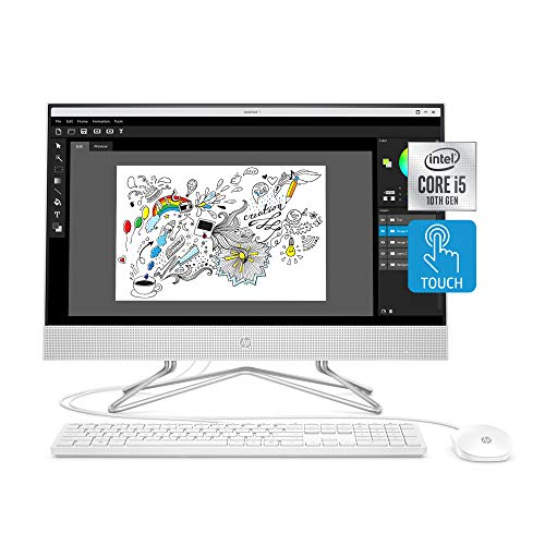 HP 24-inch All-in-One Touchscreen Desktop Computer, Intel Core i5-1035G1 processor, 12 GB RAM, 512 GB SSD, Windows 10 Home (24-df0170, White)
