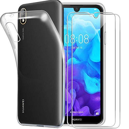 jrester Hülle kompatibel mit Huawei Y5 2019,Weiche Transparent TPU Silikon Handyhülle Schutzhülle für Huawei Y5 2019 mit Zwei Panzerglas Gehärtetes Glas Schutzfolie