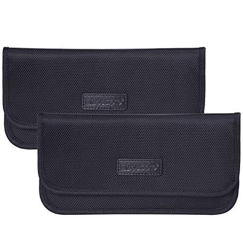 wisdompro Faraday Tasche, 2 Stück RFID-Signalblockierende Tasche, Abschirmung, Brieftaschen-Hülle für Handy Sichtschutz und Autoschlüssel (schwarz)
