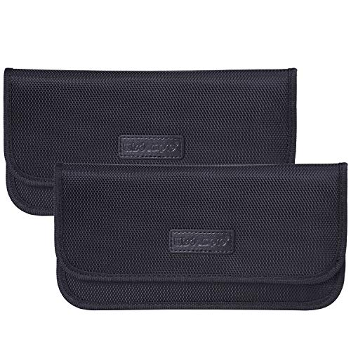 Faraday Bag, 2 Pack of Wisdompro RFID Signal Blocking Bag Shielding Pouch Wallet Case for Cell Phone Privacy Protection and Car Key FOB (Black)