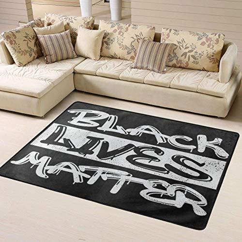 Area Rug - Alfombra antideslizante de 183 x 122 cm Black Lives Matter Graffiti, suave, acogedora y lavable, alfombra de yoga