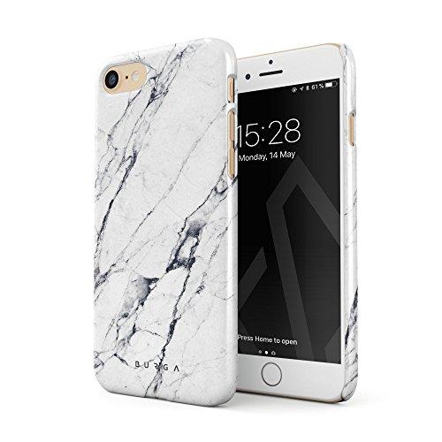 BURGA Hülle Kompatibel mit iPhone 7/8 / SE 2020 - Handy Huelle Licht Weiß Marmor Muster White Marble Mädchen Dünn Robuste Rückschale aus Kunststoff Handyhülle Schutz Case Cover