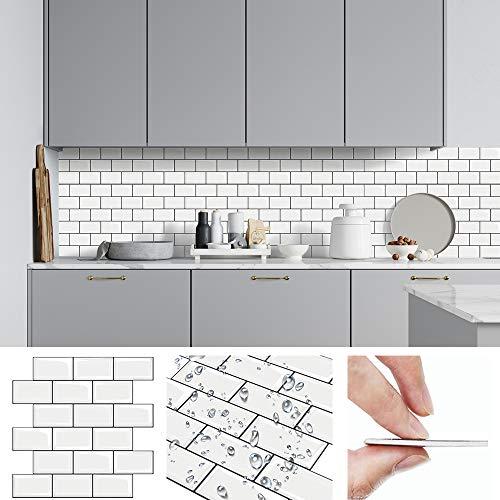 HomeyMosaic Fliesendekor Aufkleber, 3D Fliesenaufkleber Wandaufkleber Fliesensticker Fliesen Selbstklebend für Küche, Bad 30 x 30cm(5er-Set,Weiß)