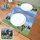 Mantel Individual para niños Holstein Friesian Gast Vast Green Dutch Meadow 12x18 Inch Place Mats Set of 6 Double Fabric Printing Cotton Linen For Kitchen Table